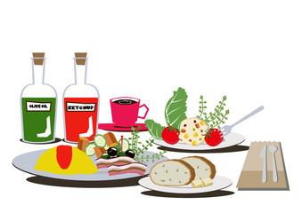 オムレツの朝食。バランスのとれた健康的な食事。