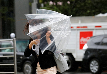 A woman using an umbrella struggles against a heavy rain and wind as Typhoon Shanshan approaches Japan's mainland in Tokyo