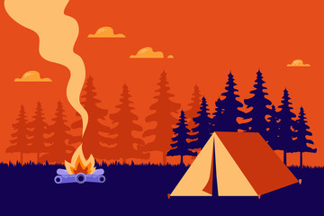 Hiking and camping vector  illustration.