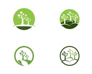Trees logo design vector template