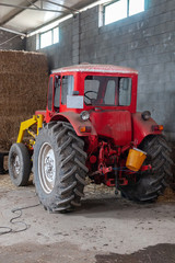 tractor in a stable