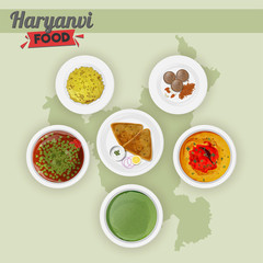 Set of Haryanvi food on green state map background.