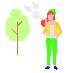 Smoking girl. Young woman with cigarette smokes on isolated background flat style vector illustration.