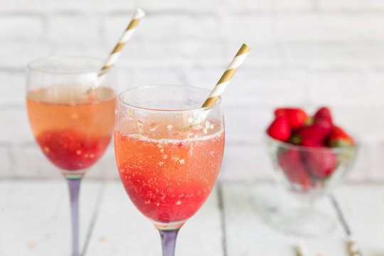 Luxury wine cocktail with strawberry sorbet