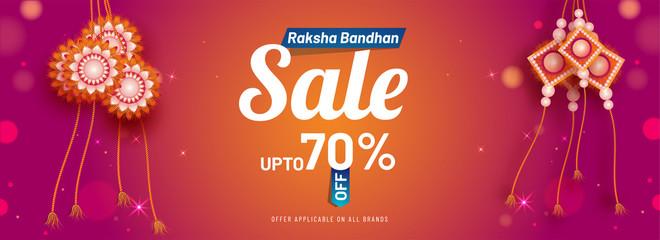 Upto 70% discount offer for Raksha Bandha Sale banner with beautiful rakhi (wristband) on shiny pink blur background.