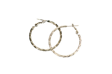 Metal ring earrings on a white background