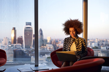 Businesswoman in an office in London