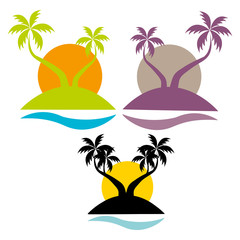 Set of palm trees on sunset background, silhouette on white background,