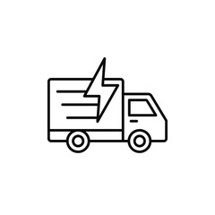 delivery truck flash lightning icon. fast shipment illustration. simple outline vector symbol design.