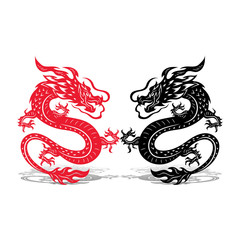 Two dragons (black and red), battle, on white background,