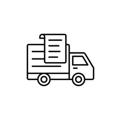 delivery truck paper list icon. shipment report document illustration. simple outline vector symbol design.
