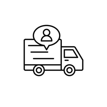 delivery truck with people icon. shipment driver or courier information illustration. simple outline vector symbol design.