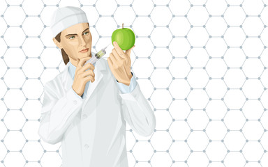 Doctor does gmo modification to an apple