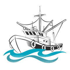 Fishing trawler silhouettes