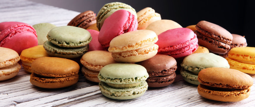 Sweet and colourful french macaroons or macaron on white backgro