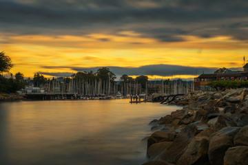 Sunrise above Santa Cruz harbor in Monterey bay, California
