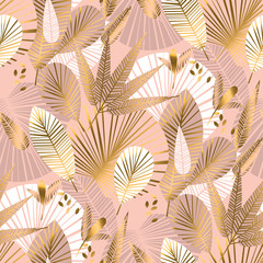 Rose gold tropical seamless pattern with palm foliage