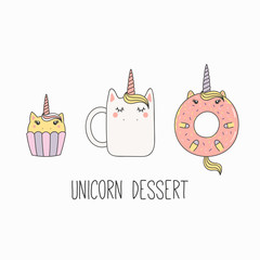 Garden Poster Illustrations Hand drawn vector illustration of a kawaii funny mug cup, cupcake, donut with unicorn horn, ears, with text. Isolated objects on white background. Line drawing. Design concept cafe menu, kids print.