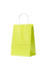 Ecological recycling Green shopping paper bag isolated background. copy space