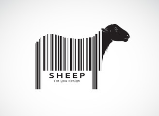 Vector of sheep on the body is a barcode. Wild Animals. Sheep design. Easy editable layered vector illustration.