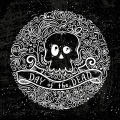Illustration with the Day of the Dead lettering and skull on pattern background.