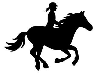 Reiterin mit Helm auf galoppierendem Pferd / schwarz-weiß, Vektor, freigestellt
