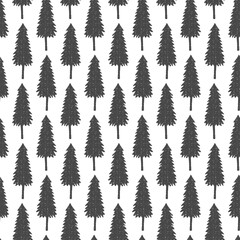 Seamless forest pattern with hand drawn fir trees. Decorative seasonal print.