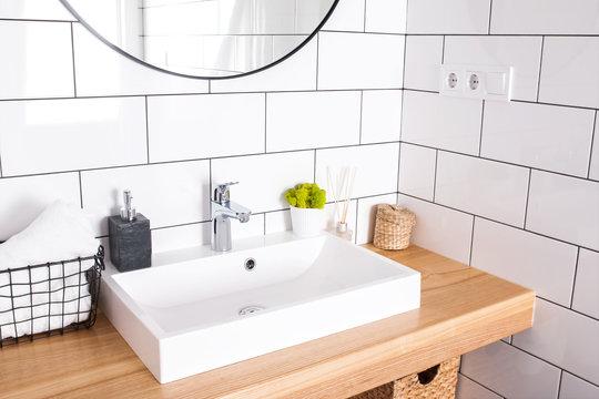 Modern bathroom interior in details.