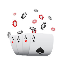 Folded aces and falling chips with blur effect, casino concept, vector template