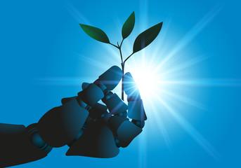robot - plante - main - technologie - futur - agriculture - main artificielle - écologie - avenir