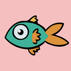 fish icon,vector drawing sea animal