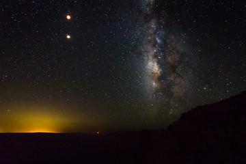 Milky Way galaxy night view, full moon.