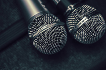 Two microphone for duo sing a song or Karaoke concept