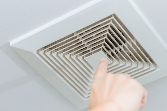 dusty dirty ceiling air ventilation fan hole grill duct for cause of lung disease