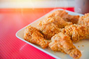 Hot Kentucky style fried chicken yummy tasty happy meal of fast food american pop culture