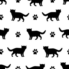 Seamless patterns with silhouettes of the black cat and footprints.