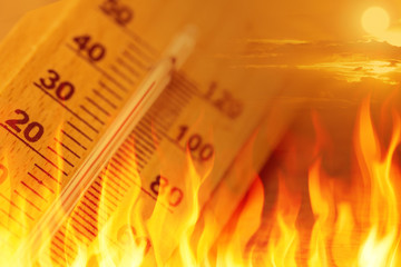 global warming climate change sign high temperature thermometer fire concept