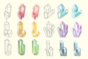 Set of isolated shiny diamonds and gems structure