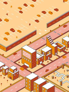 Geometric isometric city with car park