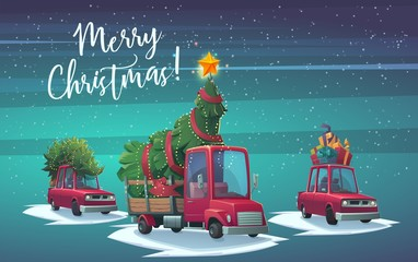 Car with gift boxes and truck with fir tree and big shining star for christmas illustration in cartoon style