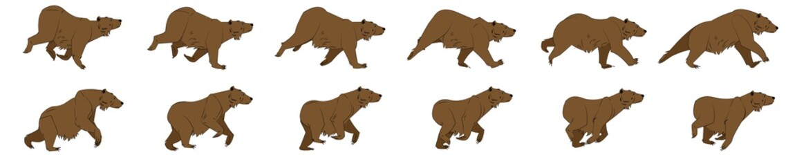 Bear run cycle animation sprites, animation frames