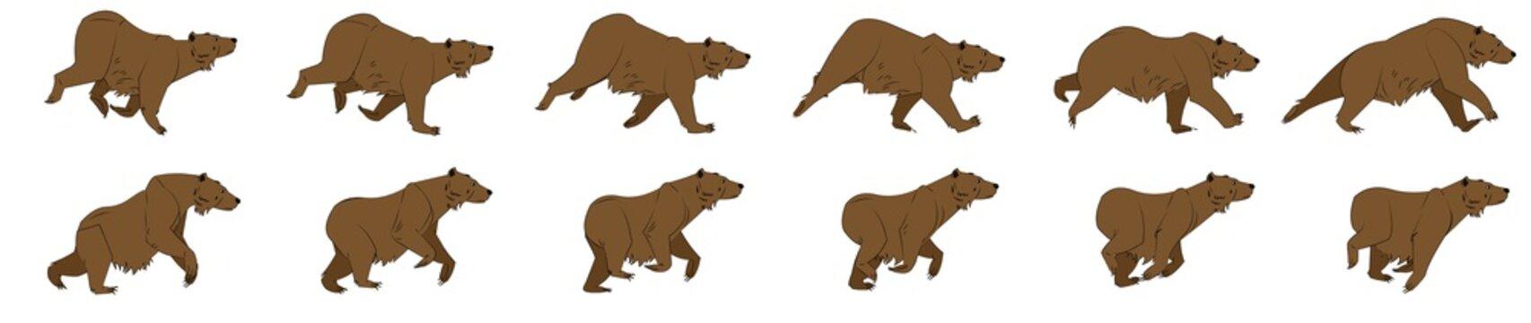 Bear run cycle animation sprites, animation frames