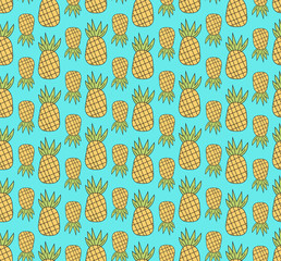 Bright Pineapple Seamless Pattern Repeating Vector Illustration - Surface Pattern Design Fabric, Textile - Cute Yellow Blue Green