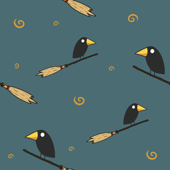 Crow on the broom seamless pattern on dark background