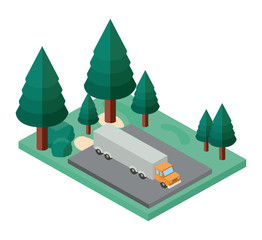 truck parking and trees scene isometric icon vector illustration design