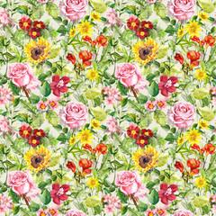 Meadow flowers, summer herbs. Seamless floral pattern. Watercolor