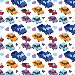 isometrics cars and hearts pattern background vector illustration design
