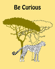Quotes Poster with Cheetah Savanna Animal