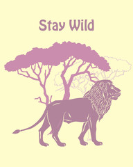 Quotes Poster with Llion Savanna Animal