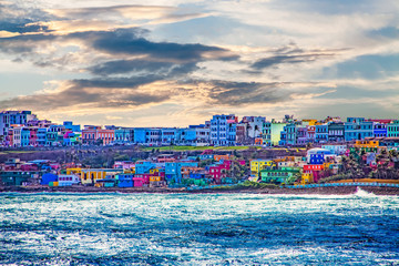 Fototapete - Colorful Village on Coast of San Juan